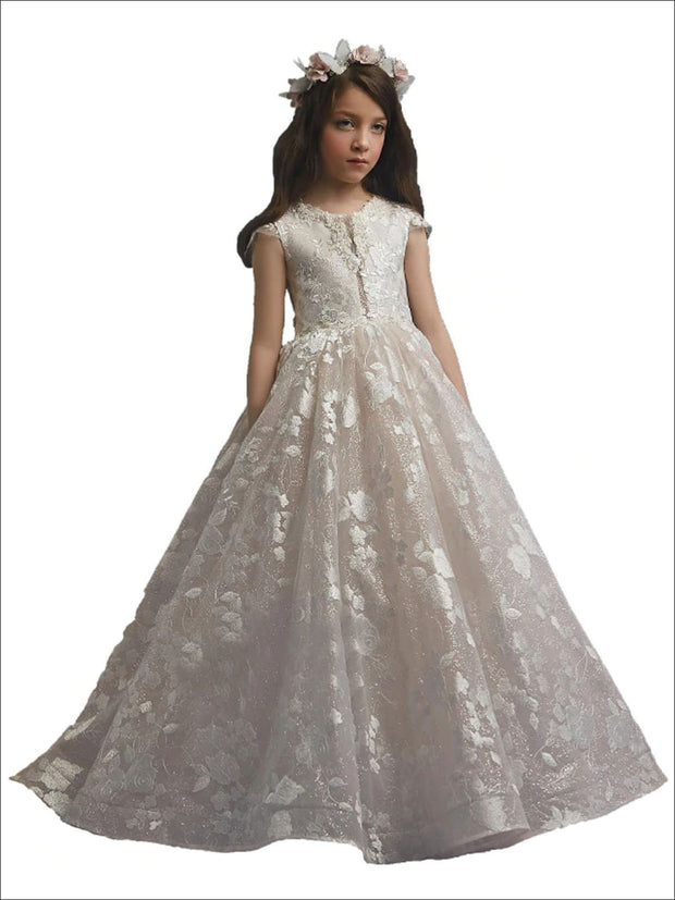 Girls White Lace Flower Communion Gown - White / 2T - Girls Gowns
