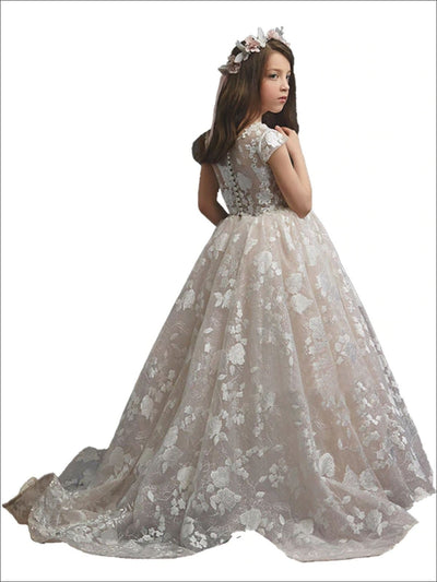 Girls White Lace Flower Communion Gown - Girls Gowns