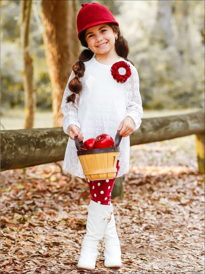 Girls White Lace Long Sleeve Hi-Lo Tunic & Polka Dot Leggings Set - Girls Fall Casual Set