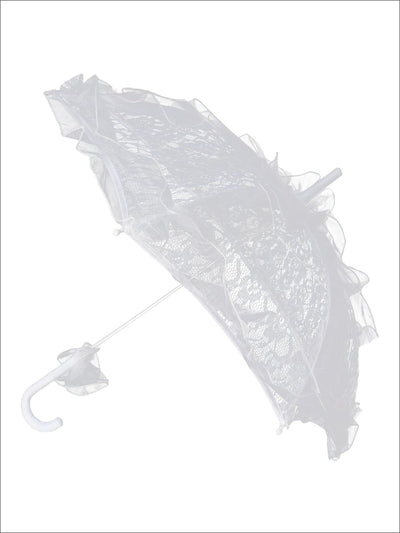 Girls White Lace Parasol Umbrella - Girls Halloween Costume