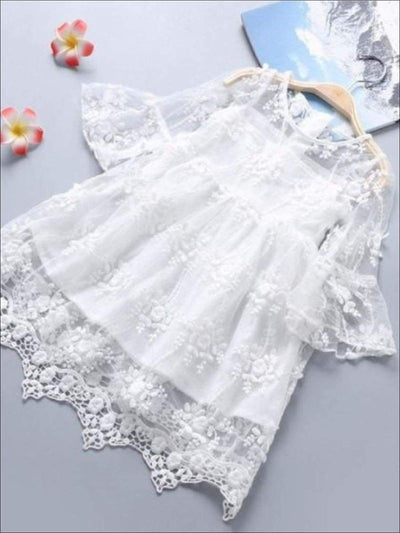 Girls White Lace Scallop Edge Boho Sleeve Dress - Girls Spring Dressy Dress