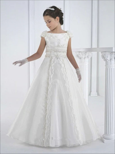 Girls White Lace Sequin Embellished Communion Dress - White / 2T - Girls Gowns