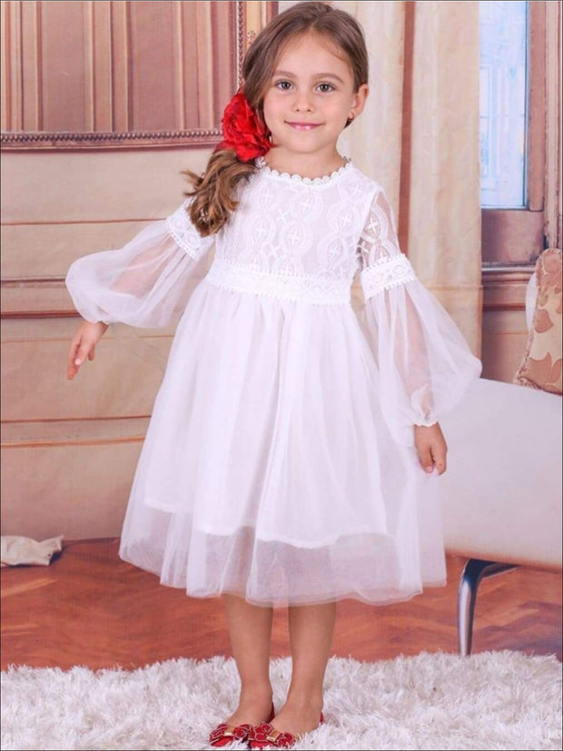Girls White Lace Trim Boho Sleeve Party Dress - Girls Spring Dressy Dress