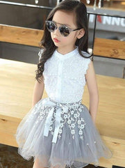 Girls White Lace Trimmed Button Down Blouse & Grey Flower Embroidered Tutu Skirt Set - Girls Spring Dressy Set