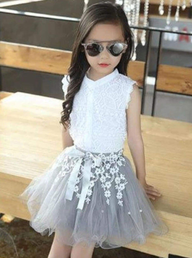 Girls White Lace Trimmed Button Down Blouse & Grey Flower Embroidered Tutu Skirt Set - White / 5Y - Girls Spring Dressy Set