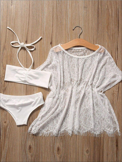 Girls White Lace Tunic Cover Up & Bikini Set - White / 12M - Girls Swimsuit Cover Up