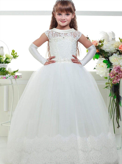 Girls White Lace-up Back Communion Gown - 2T / White - Girls Gowns