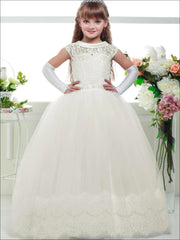 Girls White Lace-up Back Communion Gown - 2T / Ivory - Girls Gowns