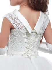 Girls White Lace-up Back Communion Gown - Girls Gowns