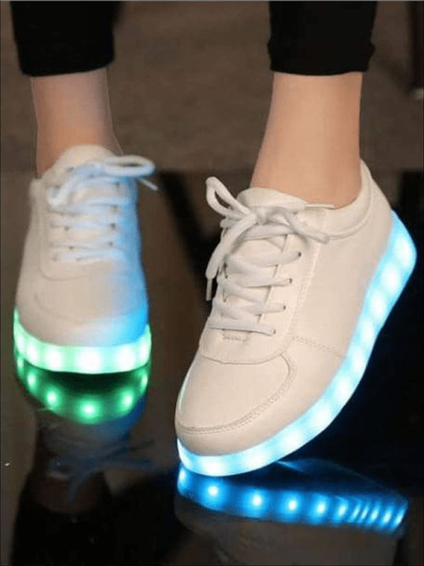 Girls White LED Light-Up Shoes - White / 10.5 - LED light up shoes