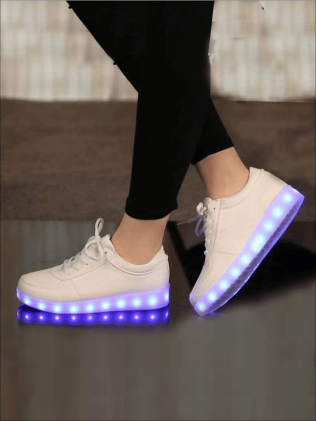 Girls White LED Light-Up Shoes - LED light up shoes