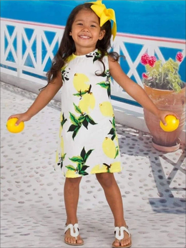 Girls White Lemon Printed Sleeveless Tunic Dress JAN17CNALDR17WL - Girls Spring Casual Dress