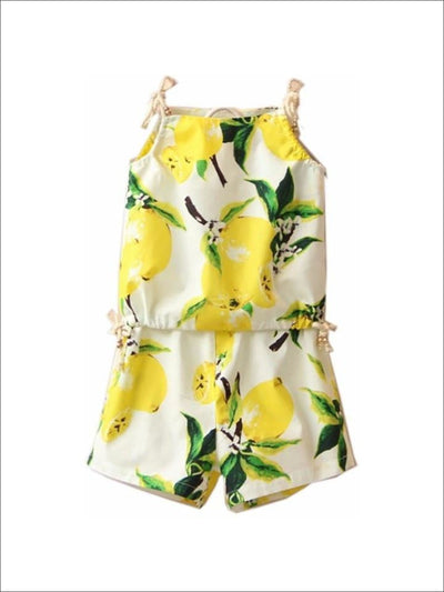 Girls White Lemon Printed Tank/Short Set - Girls Set Lemon