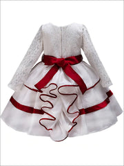 Girls White Long Sleeve Lace Holiday Dress with Satin Sash - Girls Fall Dressy Dress