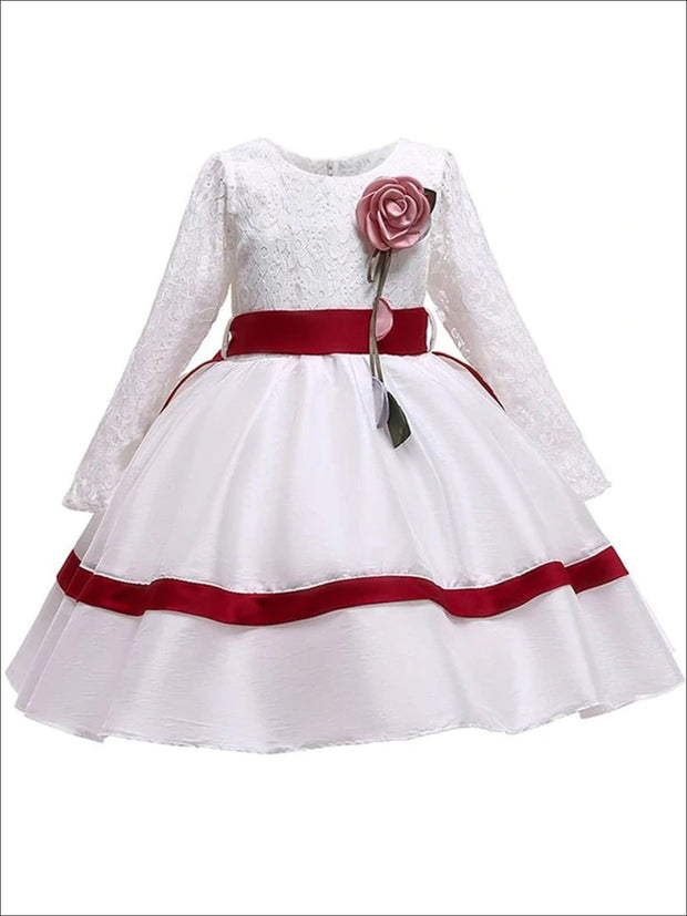 Girls White Long Sleeve Lace Holiday Dress with Satin Sash - White / 3T - Girls Fall Dressy Dress