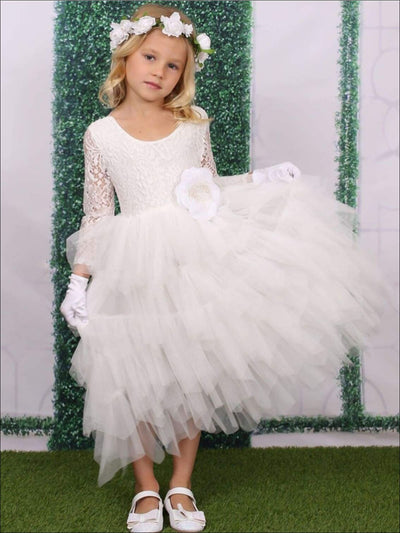 Girls White Long Sleeve Maxi Lace Tiered Ruffled Communion & Flower Girl Party Dress - Girls Gown