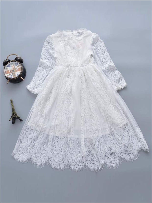 Girls White Long Sleeves Lace Dress ( 2 colors option ) Girls Spring Casual Dress