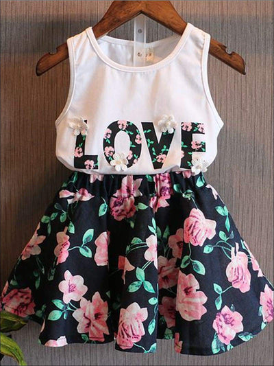 Girls White Love Print Tank Top Floral Skirt Set - Black/White / 3T - Girls Spring Casual Set