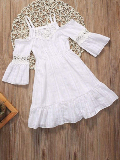 Girls White Off Shoulder Dress with Crochet Lace Trim - girl dresses