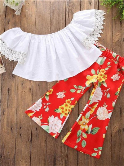 Girls White Off Shoulder Top & Bohemian Floral Print Pant Set - Girls Spring Casual Set