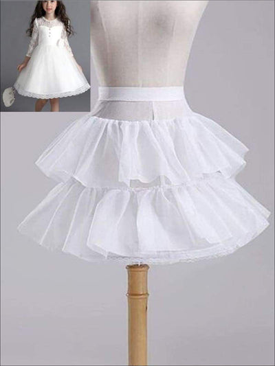Girls White One Hoop Two Layered Petticoat - One Size / White - Girls Petticoats