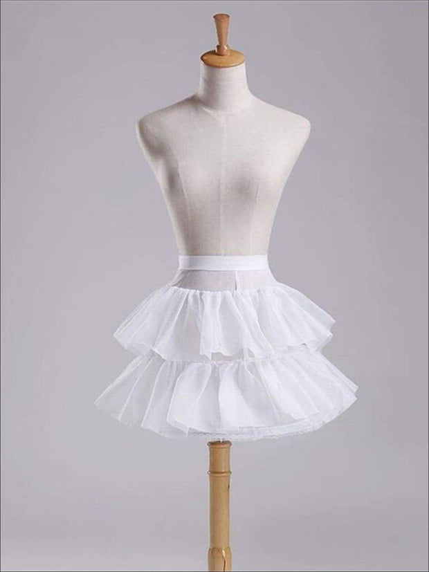 Girls White One Hoop Two Layered Petticoat - Girls Petticoats