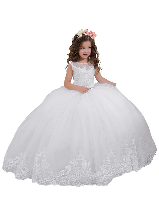 Girls White Pearl Embellished Communion Gown - White / 2T - Girls Gowns