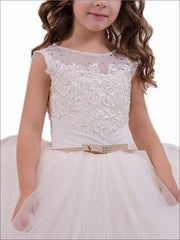 Girls White Pearl Embellished Communion Gown - Girls Gowns