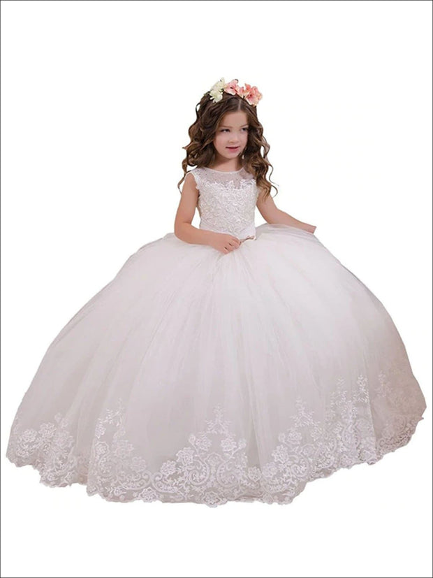 Girls White Pearl Embellished Communion Gown - Ivory / 2T - Girls Gowns