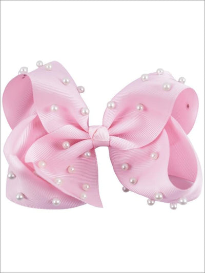 Girls White Pearl Ribbon Hair Bow - Blush - Hair Accessories