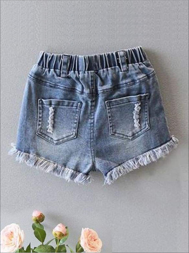 Girls White Peasant Style Tunic & Applique Denim Shorts Set - Girls Casual Spring Set
