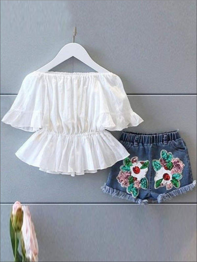 Girls White Peasant Style Tunic & Applique Denim Shorts Set - White / 5Y - Girls Casual Spring Set