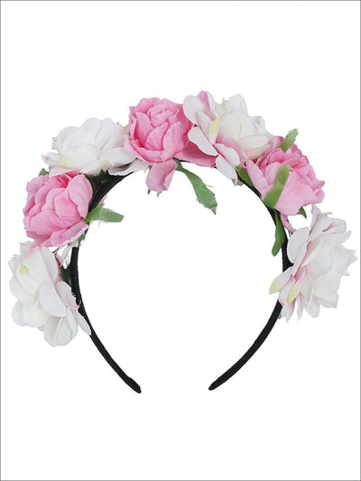 Girls White & Pink Rose Headband - Girls Hair Accessories