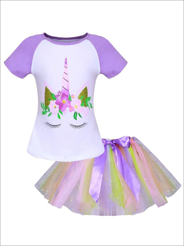 Girls White & Purple Floral Glittered Unicorn Print T-shirt & Rainbow Rhinestone Bow Tutu Skirt Set - Girls Spring Casual Set