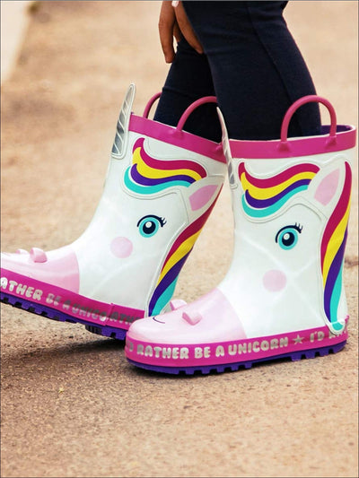 Girls White Rainbow Unicorn Rubber Rain Boots - Girls Boots