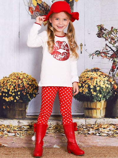 Girls White & Red Long Sleeve Tunic with Sequin Applique Kiss & Leggings Set - Girls Fall Casual Set