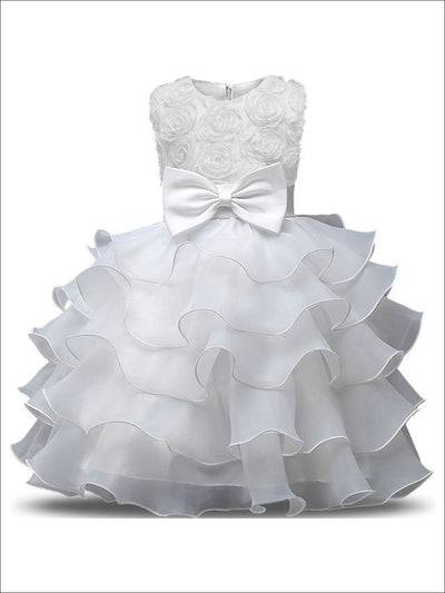 Girls White Rosette Bodice Tiered Ruffled Sleeveless Flower Girl & Communion Party Dress - white / 3T - Girls Gown