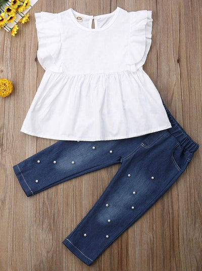 Girls White Ruffle Sleeve A-Line Top & Pearl Applique Denim Pants Set - Girls Spring Casual Set