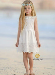Girls White Ruffled Flutter Sleeve Summer Dress with Bow Tie - Girls Spring Casual Dress