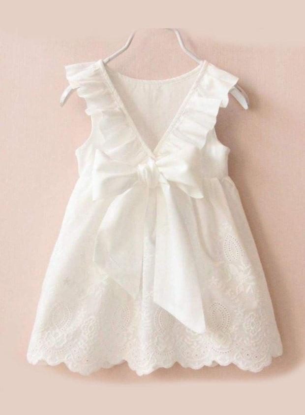Girls White Ruffled Flutter Sleeve Summer Dress with Bow Tie - White / 2T/3T - Girls Spring Casual Dress