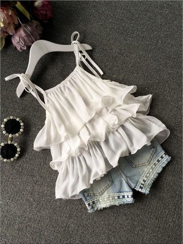 Girls White Ruffled Tunic & Denim Shorts Set - Girls Spring Casual Set