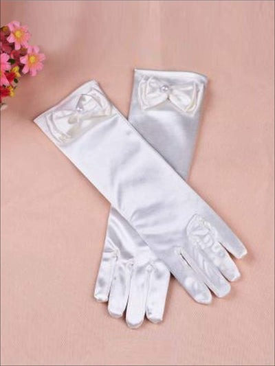 Girls White Satin Dress Up Gloves - Girls Halloween Costume