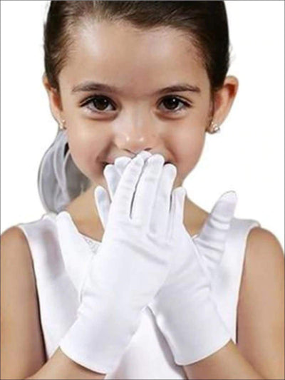 Girls White Satin Wrist Length Gloves - Girls Accessories
