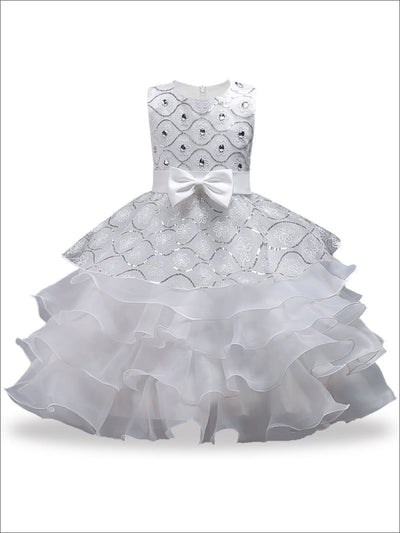 Girls White Sequin Ruffle Tiered Flower Girl & Communion Party Dress - White / 3T - Girls Gown
