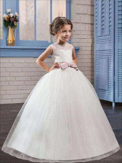 Girls White Sleeveless Floral Lace Pearl Rhinestone Bow Communion & Flower Girl Party Dress - Girls Gown