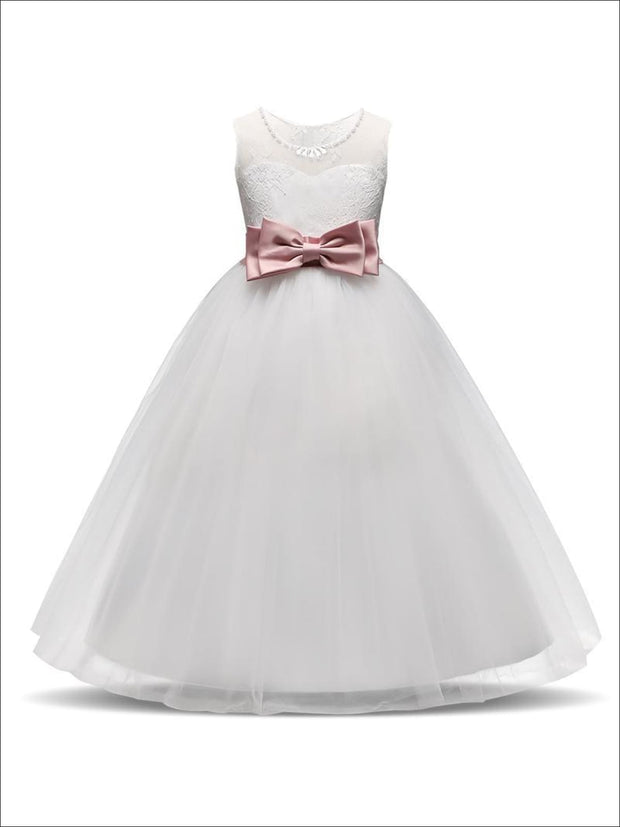 Girls White Sleeveless Floral Lace Pearl Rhinestone Bow Communion & Flower Girl Party Dress - White / 5 - Girls Gown