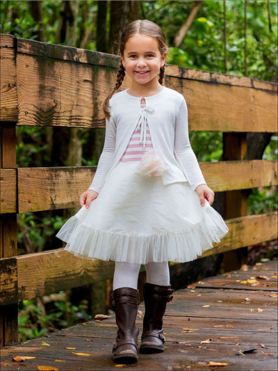 Girls White Straight Cardigan - Girls Sweater