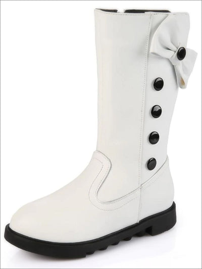 Girls White Synthetic Leather Buttoned Bow Tie Boots - Girls Boots