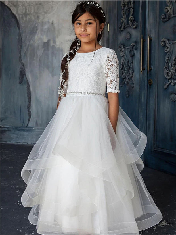 Girls White Tiered Communion Gown - White / 2T - Girls Gowns