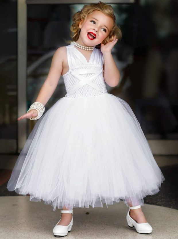 Girls White Tulle Marilyn Monroe Inspired Halloween Tutu Dress - 2T / White - Girls Halloween Costume